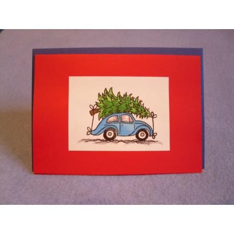 Weihnachtskarte Käfer mit Tannenbaum